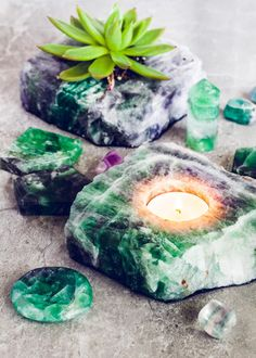 Thick Slab Fluorite Candle Holder - Crystal tealight votive candles - Fluorite brings order to chaos and promotes serenity. Colors ranging from deep purples to emerald greens