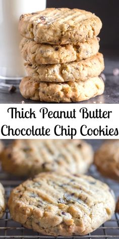 Thick Peanut Butter Chocolate Chip Cookies the best Peanut Butter Cookies you will make or eat. Made with loads of chocolate chips and deliciously thick. Everyone will love them not just the kids! - Chocolate Chip - Ideas of Chocolate Chip Chocolate Peanut Butter Cookies, Peanut Butter Oatmeal, Chocolate Chip Oatmeal, Oatmeal Cookies, Coconut Chocolate, Chocolate Drizzle, Chocolate Brownies, Cookies With Chocolate Chips, White Chocolate