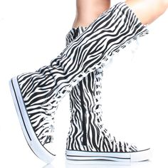 Black-White-Zebra-Canvas Lace Up Women Flat Knee High Boot Sneakers