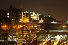 North Bridge over Waverly Station in Edinburgh, Scotland---stood on that bridge and soaked in this sight! Loved it!