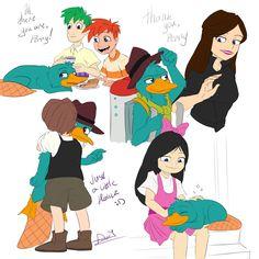 ♫ Everything's better with Perry ♫ Some sketches. Disney Xd, Disney Memes, Cute Disney, Disney Cartoons, Disney Magic, Disney Pixar, Phineas And Ferb Perry, Phineas And Ferb Memes, Cartoon Characters As Humans