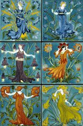 Six ceramic tiles showing The Flower Fairies, designed by Walter Crane, England c.1900