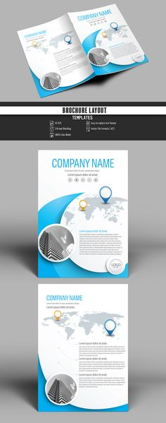 Brochure Cover Layout with Blue Accents Buy this stock template and explore similar templates at Adobe Stock Booklet Layout, Booklet Design, Layout Template, Brochure Template, Flyer Template, Flyer Design, Layout Design, Templates, Brochure Cover Design