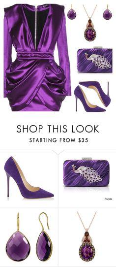 """Balmain Purple Dress"" by deborah-calton ❤ liked on Polyvore featuring Balmain, Jimmy Choo, Jacki Design and LeVian"