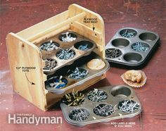 Muffin Tin Caddy: Screw together a tote from three pieces of 1/2-in.-thick plywood cut to fit the width and height of your trays. Screw plywood strips on the inside to act as drawer runners for the tins and glue or screw on a thin plywood back. The tote shown here holds four tins, but you can build it higher for even more storage capacity. Cut the plywood sides long enough so there's room to add a 3/4-in. - diameter dowel handle.