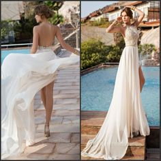 2014 New Beaded Halter High Slit Chiffon Sexy Backless Short Front Long Back Ivory Lace Wedding Party Dresses $155.00