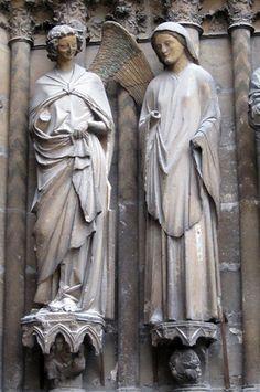 Groupe de l'Annonciation. Ebrasement droit du portail central de la façade occidentale, dit « portail de la Vierge », cathédrale Notre-Dame de Reims. 1250-1270.