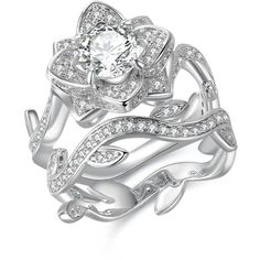 Newshe Jewellery Round White Cz 925 Sterling Silver Flower Wedding... ($31) ❤ liked on Polyvore featuring jewelry, rings, sterling silver rings, white ring, round wedding rings, flower ring and engagement rings