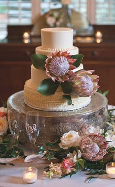 Country-Chic Wedding Inspiration Can't get enough of this chic white wedding cake adorned with prote Country Wedding Cakes, Themed Wedding Cakes, Fall Wedding Cakes, Wedding Cake Rustic, White Wedding Cakes, Wedding Cakes With Flowers, Beautiful Wedding Cakes, Wedding Cake Toppers, Chic Wedding
