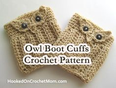 Crochet Pattern Owl Boot Cuffs Leg Warmers with Size Options - Photos - Step by Step Instructions - PDF Instant Digital Download