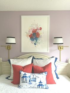 lavender, light purple girls bedroom, abstract artwork, blue and white chinoiserie pillow, swing arm lamps Light Purple Bedrooms, Light Purple Walls, Purple Wall Paint, Purple Master Bedroom, Purple Paint Colors, Feminine Bedroom, Purple Rooms, Bedroom Wall Colors, Mauve Walls