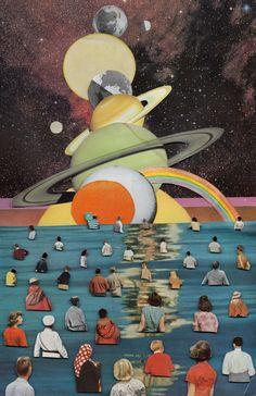 art surrealista Retro-Futuristic Magazine Collage Art by Ben Giles Collage Kunst, Art Du Collage, Surreal Collage, Surreal Art, Art Collages, Collage Drawing, Painting Collage, Collage Design, Retro Kunst