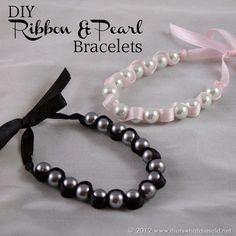 DIY Ribbon & Pearl Bracelets at thatswhatchesaid.com