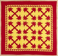 "Pennsylvania Mennonite appliqué quilt, ca. 1900, in a cockscomb pattern, with a sawtooth border, 76"" x 76""."