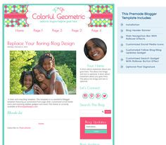 Premade Blogger Template  Colorful Geometric 1 by RhondaJai, $30.00