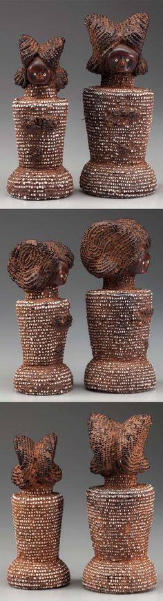 Africa | Two dolls from the Zaramo people of Tanzania | Wood, glass beads