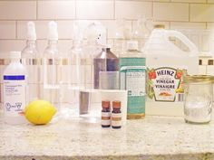 Organic Homemade Cleaning Supplies DIY    Homemade Cleaning Supplies:   Vinegar  Hydrogen Peroxide  Rubbing Alcohol  Baking Soda  Borax  Washing Soda  Castile Soap (Dr.Brommers)  Dish Soap  WATER  Citrus  Olive Oil  Tea Tree Oil    The Manor's All Purpose Cleaner:   1/2 cup Warm Water  1/2 cup Vinegar  2 Tbsp Lemon Juice  15 drops Tea Tree Oil  The