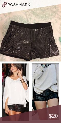 NWT Express Sequin Shorts Black sequin shorts are sure to dress up any outfit! Elastic waist band. Bought from a fellow Posher and they are just a little big on me. My loss your gain! Super cute otherwise. Express Shorts