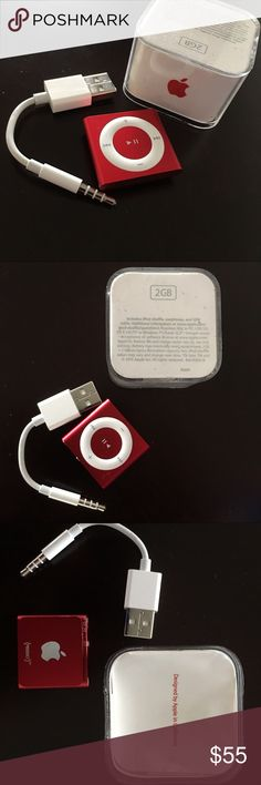 NEW IN BOX 4th gen iPod shuffle 2gb in red UNUSED NEW IN BOX NEVER USED 4th gen iPod shuffle 2gb in red. iPod shuffle has up to 15 hours of battery life and storage for hundreds of songs. Buttons--The clickable control pad on the front of iPod shuffle makes it easy to see and use the music controls. Includes USB adapter as pictured. The box was opened but was never connected or powered on. The earbuds are not included. Design--iPod shuffle 4th gen in red can be clipped to your shirt, jacket…