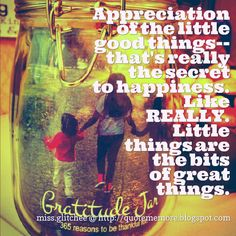 GRATEFUL^^  Appreciation of the little good things-- that's really the secret to happiness. Like REALLY. Little things are the bits of great things.    miss.glitchee @ http://quotememore.blogspot.com