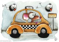 ACEO Original Watercolor Folk Art Whimsical Illustration Mouse Taxi Crow Bird | eBay