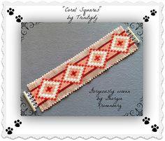 BPSQUARE005  Coral Squares  Square Stitch Bracelet door TrinityDJ, $6.50