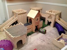 Messy but cute bunny play land.