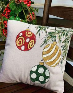Christmas Ornaments, Christmas Balls, Holiday Decorating, Gift Ideas, Accent Pillows, Christmas Pillows, Hand-painted, Pillow Cover. Pillow cover is hand-painted on 10% medium-weight cotton canvas fabric and is signed by the artisan. . Easy accessible back overlaps to fit pillow insert. Designed to fit a 18 x 18 inch insert.  **NOTE** This listing is for the pillow cover ONLY. NEED MORE? Send me a message and I can add as many to the listing as you need. FREE SHIPPING USA.