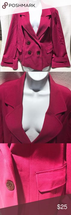 🆕George • Dark Raspberry Double Breasted Pea Coat Used | Excellent Condition | Signs of Wear on Collar and Piling Around Edges ; Hardily Noticeable | Dark Raspberry Color | Double Breasted Pea Coat | 4 Buttons on Front | 1 Button on Each Wrist | 1 Pocket on Each Side | 63% Polyester | 33% Rayon | 4% Spandex | Lining: 100% Polyester |🚫 Trades | More 📸 Upon Request | Ask Any Questions Needed To Help With Decision 🙋🏽| Bundles & Offers Are Welcomed ❤️| George Jackets & Coats Pea Coats