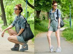 Floral jumpsuit & denim jacket (by Pepa P) http://lookbook.nu/look/3442743-Floral-jumpsuit-denim-jacket