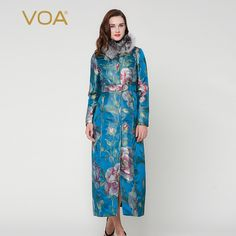 Find More Down & Parkas Information about VOA blue octavo big body red flower  X type long parkas fox fur silk new winter coat female M7255,High Quality coats equipment,China coated tweezers Suppliers, Cheap coated chocolate from VOA Flagship Shop on Aliexpress.com