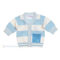 Bonnie Baby Blue Stripe Cashmere Blend Knitted Cardigan at Childrensalon.com