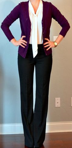 Black slacks, purple cardigan, and | http://best-work-outfit-styles.blogspot.com