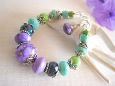 RESERVED+Chunky+Bead+Bracelet+Colorful+Beaded+by+sunrisetreasures
