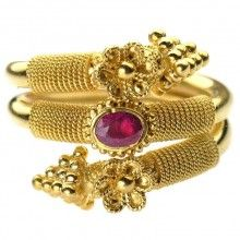 Damaskos 18k Gold Double Serpent Byzantine Ring, 18k Gold and a choice of a Sapphire, Emerald or Ruby. This and more handmade Greek jewelry at Athena's Treasures: www.athenas-treasures.com