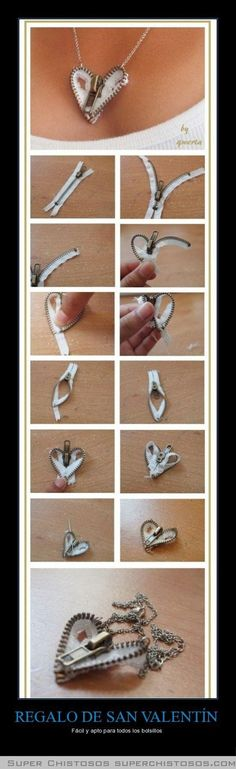 Zipper Heart Necklace diy crafts craft ideas easy crafts diy ideas crafty easy diy diy jewelry craft necklace diy necklace jewelry diy im making this for me and lyuda! Cute Crafts, Crafts To Do, Diy Crafts, Handmade Crafts, Handmade Jewelry, Zipper Crafts, Diy Accessoires, Diy Schmuck, Bijoux Diy