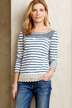 The interesting details on this top take it a notch up from the typical nautical top. Shiloh Embroidered Top - anthropologie.com