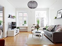 Love the rug, floral pillows, matching lantern to couch and green plants