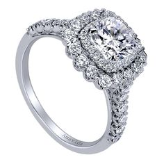 18k White Gold Cushion Cut Double Halo Engagement Ring angle 3