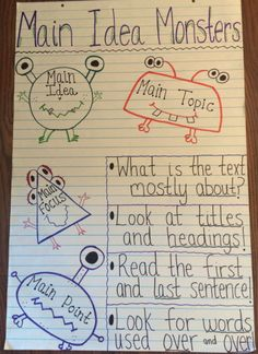 Main Idea Anchor Chart. Cute way to help the kiddos remember. The pin also links to a fun main idea and details activity packet!
