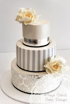 Silver, damask and stripe detail wedding cake. THEME: Stripes Wedding Ideas & Inspirations. Wedding Directory-UK {WDUK} #weddingcakes
