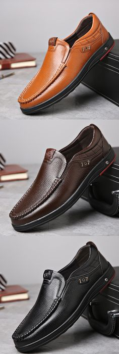 US$34.89 Men Large Size Cow Leather Soft Sole Casual Shoes