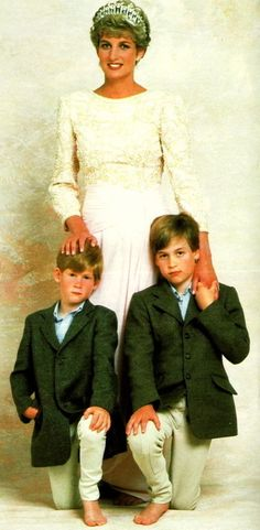 Princess Di and her boys...Diana, Princess of Wales (Diana Frances Spencer)  July 1 1961 – August 31 1997) Diana died as a result of injuries sustained in a car accident in the Pont de l'Alma road tunnel in Paris, France.