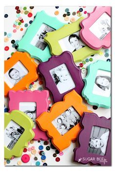 so fun and colorful!! - - here's how to make Mini Frame Fridge Magnets ~ Sugar Bee Crafts