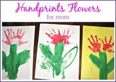 Give flowers that don't wilt with this Construction Paper Craft: Handprint Flowers Mother's Day