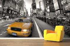 Create a bold feature wall with this New York yellow taxi wallpaper, a cool city design on the streets of NYC. New York Wallpaper, Wall Wallpaper, Tv Background, New York Taxi, Wall Murals, New York Skyline, City, Inspiration, Walls