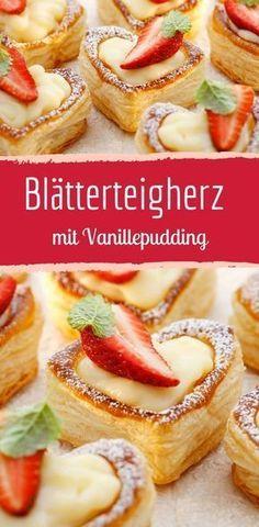 Schnell gemachtes Dessert aus Blätterteig. Rezept für romantisches Gebäck mit Vanillecreme Füllung