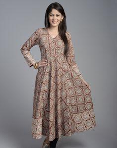 Cotton Printed Anarkali Full Sleeves Long Kurta