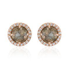 Rosie 5.0mm Labradorite & Diamond Post Earrings