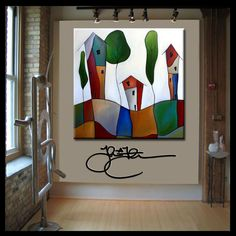 Original Abstract Modern Home DECOR Wall Art HUGE canvas Painting by Fidostudio #Abstract